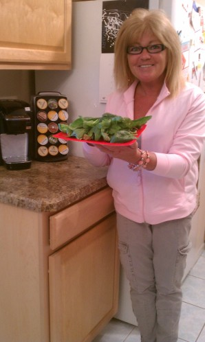 Karen in Kitchen with Spinach