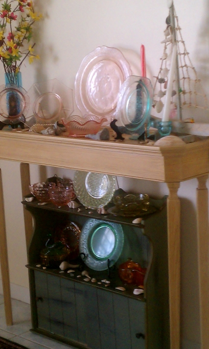 Depression Glass Arranged in Parlor