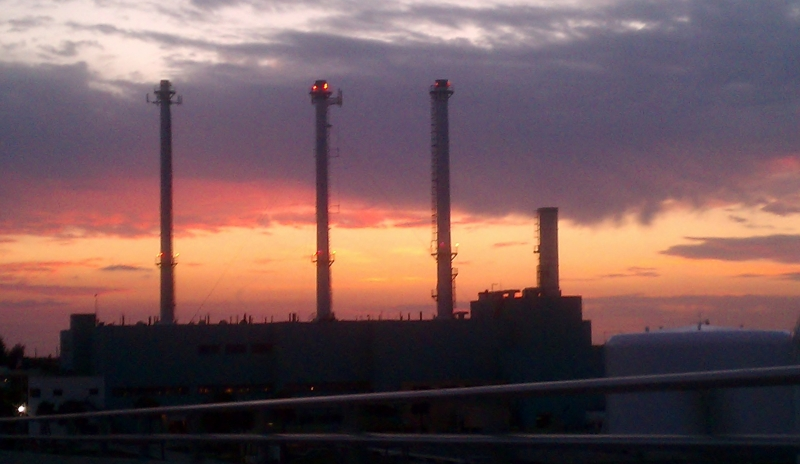 Vero Beach Power Plant at Sunset, May 4, 2012