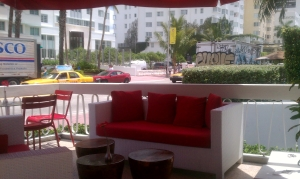 Red Cafe Outdoor Seating at Catalina Hotel
