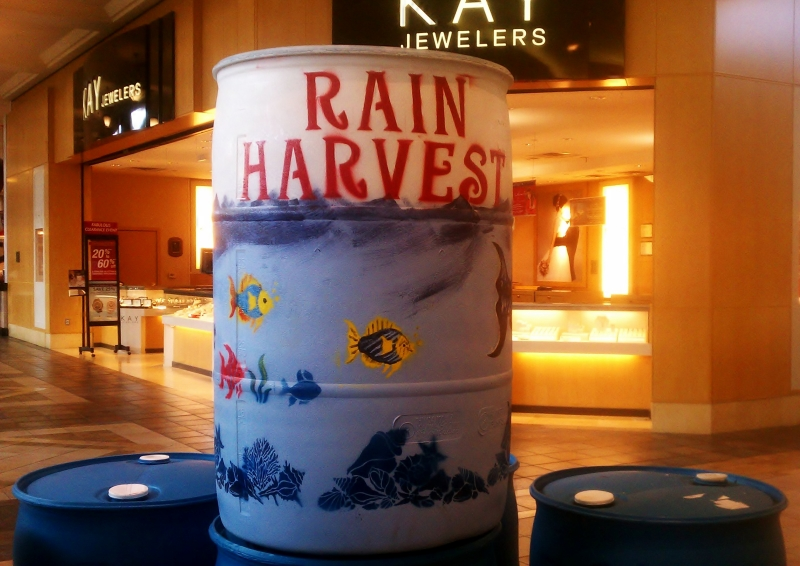 Painted Rain Barrel