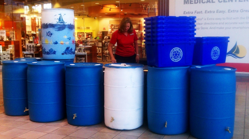Rain barrels at the KIRB booth