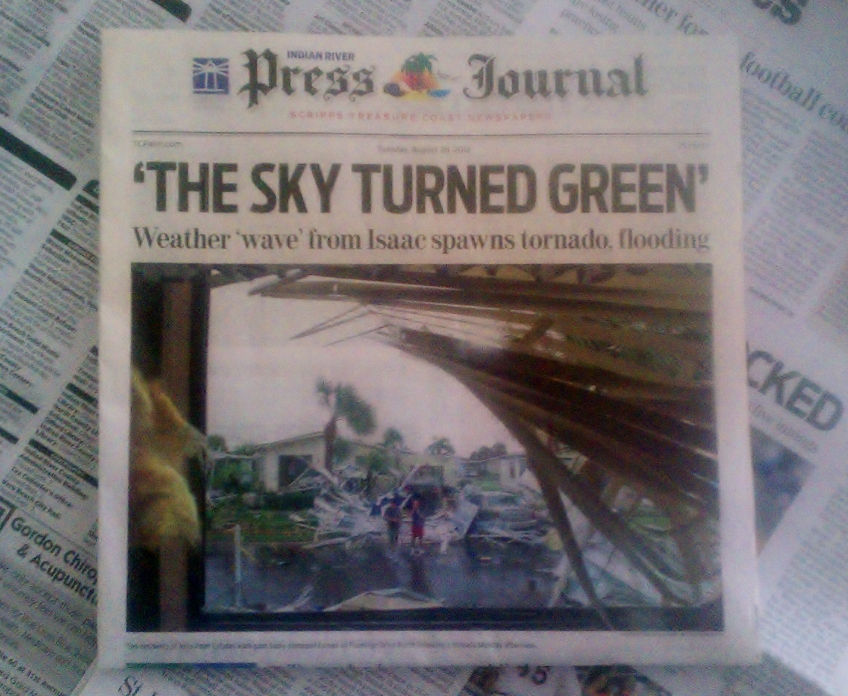 Front Page, Press Journal, Vero Beach, 8/28/2012
