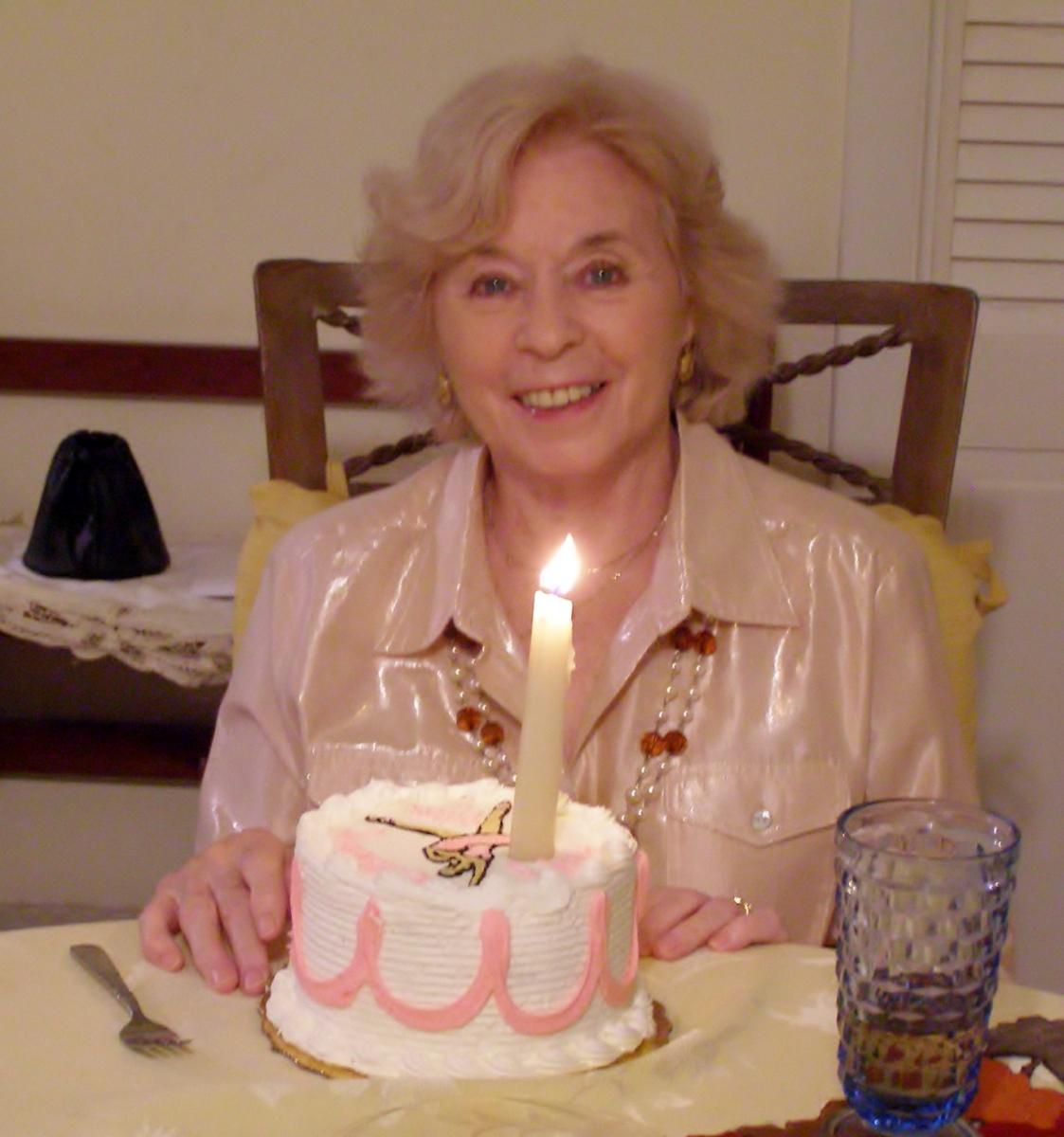 Rita with Birthday cake, October 2012