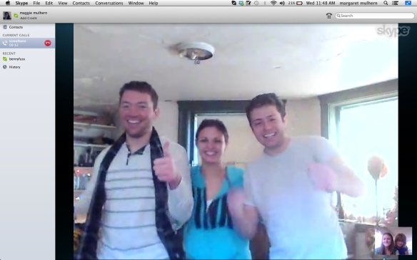 Christmas 2013, Skype, (From left to right: Jack, Melanie, TC)