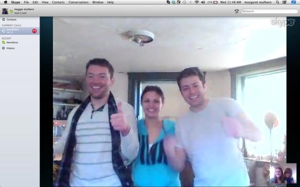 Christmas 2013, Skype, (From left to right: Jack, Melanie, TC)