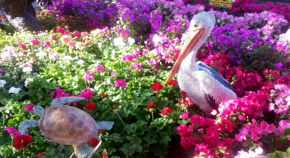 Pelican and Sea Turtles Garden Sculptures, Busy Bee Lawn and Garden Center display, Gardenfest 2014