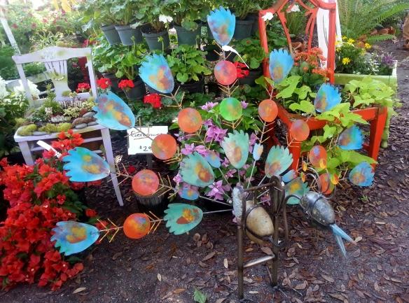 Peacock Garden Object, Beech Annuals Display, Gardenfest 2014